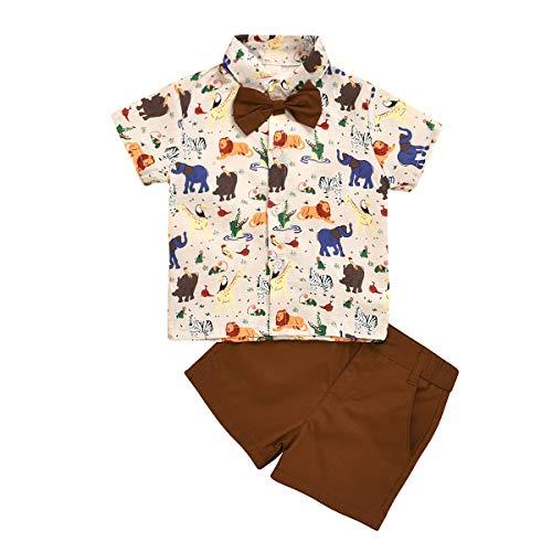 Borlai 2 stuks/set baby heren kleding pak schattige dieren bedrukt vlinderdas shirt + shorts