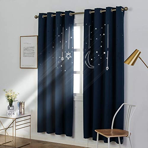 MANGATA CASA Kids Star Blackout Curtains Grommet Thermal 2 Panels for Bed Room,Cutout Galaxy Window Curtain Darkening Drapes for Nursery Living Room(Navy 52x84in)
