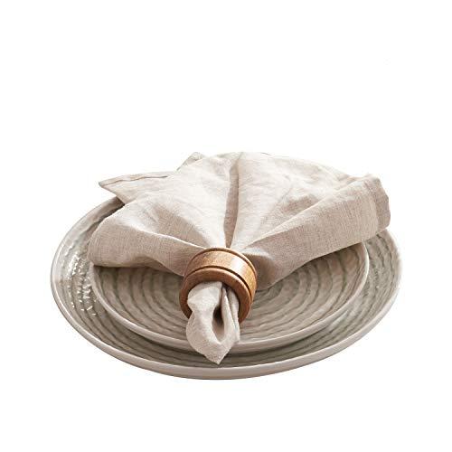DAPU Servilletas de lino francés 100% con esquinas cortadas a inglete hechas a mano en lino natural, juego de 6 unidades, 45 cm x 45 cm