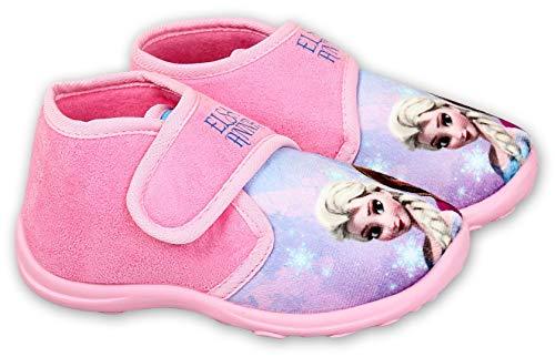 Disney Frozen Hausschuhe Eiskönigin Mädchen Schuhe mit Klettverschluss (Rosa, 28)