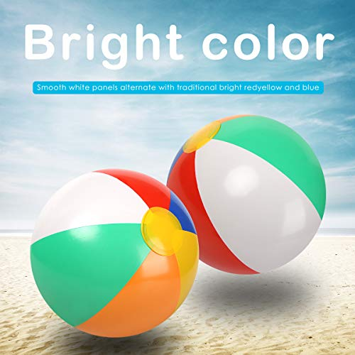 "Yoreeto 12"" Inflatable Beach Ball (12 Pack) 10 to 12 Inches from Inflated to Deflated Classic Rainbow Color Birthday Pool Party Favors Summer Water Toy Fun Play Game -Beach Ball for Kids Toddlers Boy"