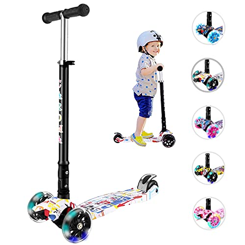 Caroma Kick Scooter for Kids - 3 Wheel Kick Scooter ,3 Height Adjustable,Extra-Wide Light-Up Wheels,Lean-to-Steer,Folding Toddler Scooters for Children Boys Girls from 2 to 14 Year-Old (White)