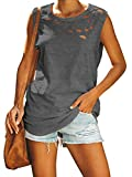 Jeanewpole1 Womens Ripped Tank Tops Distressed Sleeveless Crew Neck Loose Summer Shirts Tops (Small, Dark Gray)