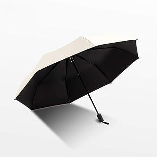 LKLXZD Umbrella Sunny Day and rain Day Dual-use Simple Sunscreen UV-Black Gum Folding Umbrella Windproof, Rainproof and UV Resistant (Color : Beige)