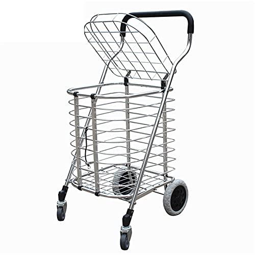 Guomipai Carrito de Compras Carrito de Compras de Aluminio Carrito de Compras Plegable con Tapa portátil Compras Portátiles Carrito Ligero Escalera S Escalada Carro de la Empresa (Color : Silver)