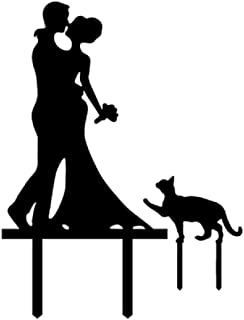 Wedding Anniverary In The Family Cake Topper Couple Bride Groom Cats