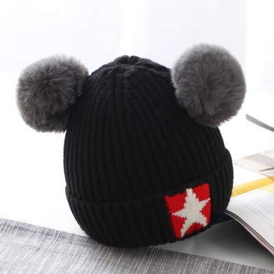 mlpnko Gorro de Lana para bebé Gorro de Punto cálido para niños Gorro de bebé Sombrero niña Sombrero Bola Negra Ajustable