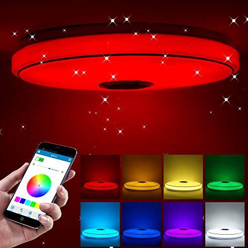 AOZBZ Smart Music LED Deckenleuchten APP Control Bluetooth LED Deckenleuchte mit Bluetooth Lautsprecher 36W Helligkeit Dimmbar und Farbwechsel Deckenleuchten für Küche Bad Esszimmer
