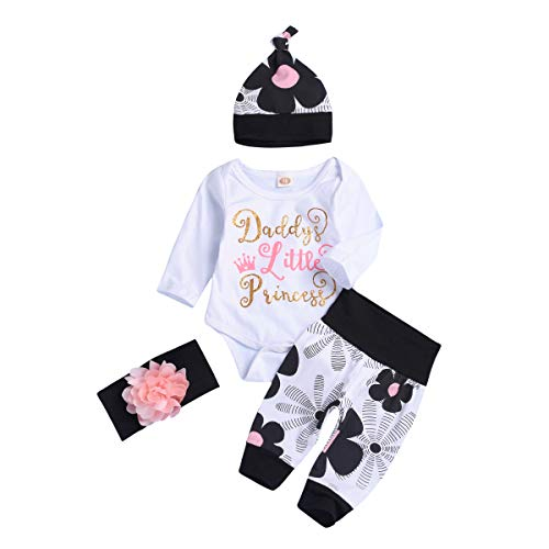 Newborn Baby Girls 4PCs Daddy Little Princess Romper + Flowers Pants + Hat + Flower Headband Outfits (12-18M) White