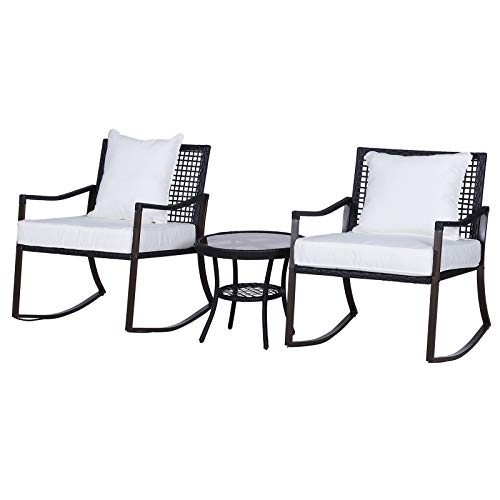 Outsunny 3 Pieces Rattan Bistro Set 2 Rocking Armchair with Pillow Cushion & Tempered Glass Round Coffee Table| Wicker Weave Furniture for Outdoor Garden Conservatory Balcony Backyard - Brown