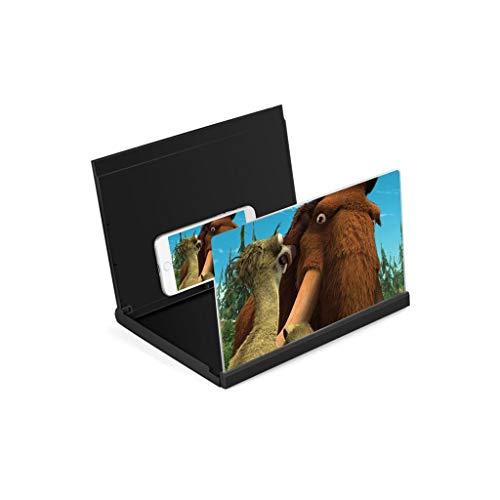 3D Mobiele Telefoon Scherm Vergrootglas met standaard 3X Vergrootglas 12 Inch Desktop voor Elke Smartphone iPhone XS/xr/7/7s/6/6s Versterker HD Zwart Blauw Wit Loupe Anti-blue black