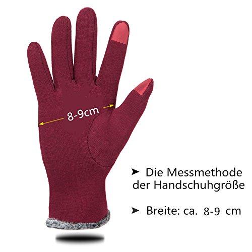 GLOUE Warm Winter Handschuhe Damen Touchscreen Handschuhe Kaschmir Drinnen Draußen Fahrradhandschuhe Motorradhandschuhe Mountainbike Handschuhe - 6
