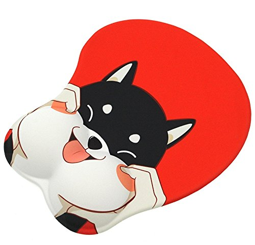 3D Shiba Husky Dog Face Mouse Pad Non Slip Silicone Mouse Mat Wrist Rest Pad for Office, Computer, Laptop (Red)