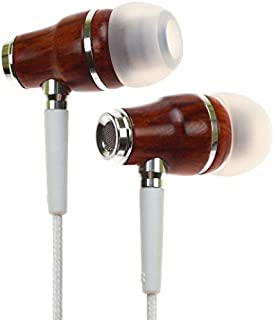 Symphonized NRG Premium Genuine Wood in-Ear Noise-isolating Earbuds Headphones, Earphones with Microphone and Nylon Cable (White)