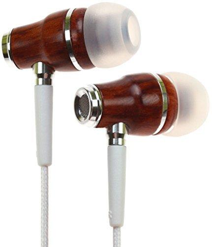 Symphonized NRG Premium Auriculares con Micrófono, de Madera auténtica, con Aislamiento de Ruido (Blanco)