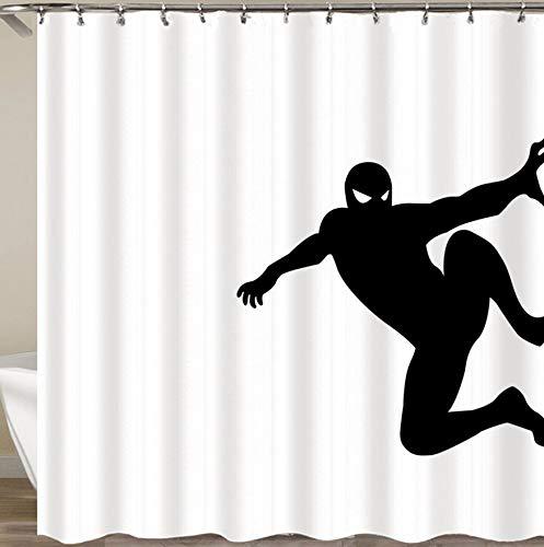 KDENDGGA Minimalistischer Schwarzer Superman Duschvorhang Polyester Wasserdichter, Formwiderstandsfähiger Schutz Für Haus Und Hotel Badvorhänge 180X180Cm