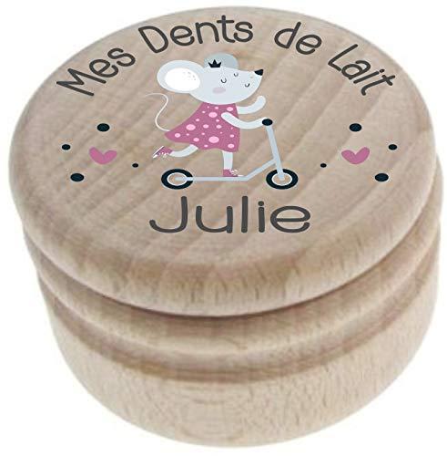 Boite à Dents de Lait en bois - Personnalisée avec le prénom de l'enfant + Texte personnalisable – Dessin de la petite souris - Fabrication française – offrir en cadeau de naissance Fille