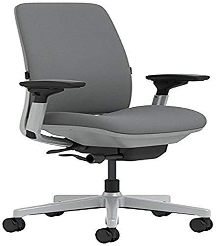 Steelcase Amia Chair with Platinum Base & Hard Floor Casters, Grey