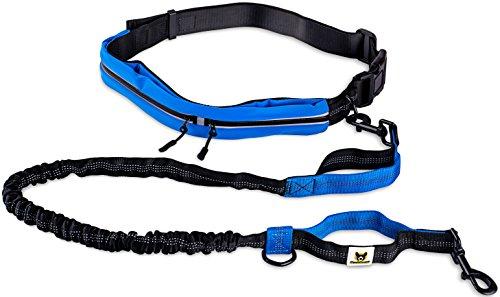 Hundefreund Joggingleine mit Laufgürtel | Blaue Hundeleine mit Dehnung und Ruckdämpfung 120cm bis 180cm für mittlere und große Hunde | Freie Hände für Jogging Fahrrad Kinderwagen