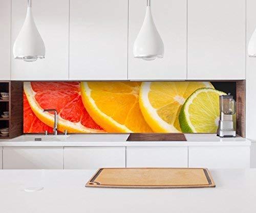 Aufkleber Küchenrückwand Orange Obst Scheiben Frucht Küche Zitrone Folie selbstklebend Dekofolie Fliesen Möbelfolie Spritzschutz 22A836, Höhe x Länge:60cm x 200cm