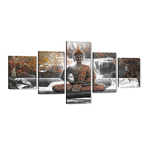 Framed Buddha Meditates in front of The Waterfall Canvas Wall Art Full of Orange Flowers Painting Prints Artwork 5 Piece Posters and Prints Ready to Hang for Living Room Bedroom Decor - 50''W x 24''H