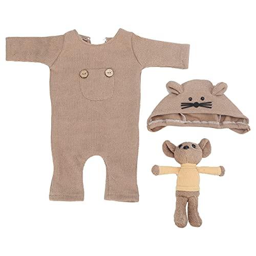 Mono Para Bebé, Accesorios Para Fotos De Bebé Suaves Y Transpirables Para Bebés Para Interiores Para Bebés Varones(marrón, Sombrero + muñeca + una pieza)