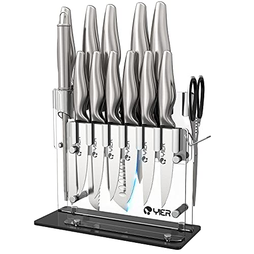 YIER Knife Sets,15 Pieces German High Carbon Stainless Steel Hollow Handle Self Sharpening Kitchen Knife Set with Finger Protection&Acrylic Stand-Best