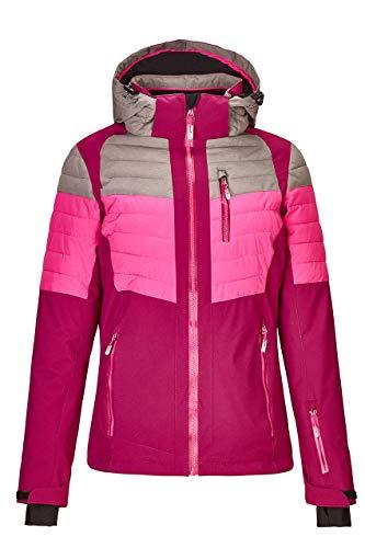 killtec Skijacke Damen Yalind - Winterjacke Damen - Damenjacke sportlich mit Skipasstasche - warme Jacke für den Winter - wasserdicht & atmungsaktiv, mittelgrau, 40