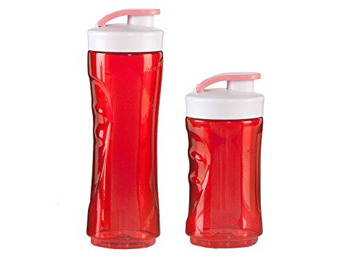 DOMO 2er-Set Ersatzflaschen für Smoothie-Maker DO434BL, 300 und 600ml, rot; DO434BL-BG-BK