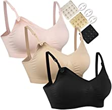 Women's Full Cup Lightly Padded Wirefree Maternity Breastfeeding Nursing Bra, 3PCS/Pack(Pink-Black-Beige), XL (Fit: 42B,42C,42D,42DD)