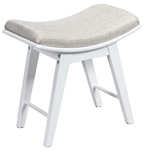 CHARMAID Vanity Stool, Makeup Dressing Stool with Concave Seat Surface, Padded Cushioned Bench with Rubberwood Legs, Modern Piano Seat, Capacity 330lb, Easy Assembly (White)