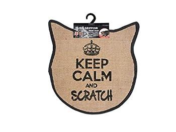 Wouapy - Tapis Griffoir pour Chat - Tapis Tête de Chat en Sisal - Tapis a Gratter - Design & Tendance - Inscription « Keep Calm and Scratch » - Pratique & Antidérapant - Gris Anthracite
