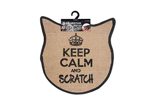 Wouapy – Kratzmatte für Katzen – Teppich mit Katzenmotiv aus Sisal – Design & Trendig – Aufschrift Keep Calm and Scratch – praktisch & rutschfest – Grau Anthrazit