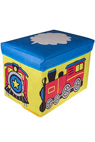 Choo Choo Train Collapsible Storage Organizer by Clever Creations   Blue, Red, Yellow Folding Storage Ottoman for Bedroom   Perfect Size Box for Books, Clothes, Electronics, and Gadgets