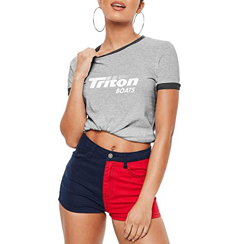 LiyeRRy Women's Triton Boats Fishing Kayaking Contrast T-Shirt Short Sleeve Round Neck Cotton Ringer Tee