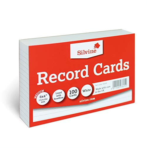 Silvine A6 White Record Cards - Lined with Headline, 100 Cards Per Pack (Size 6x4')
