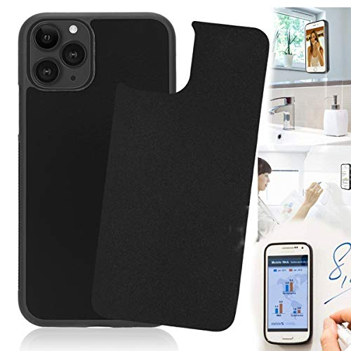 Anti Gravity iPhone 11 Pro Case, Sticky Selfie Suction Black Anti Gravity Phone Case for iPhone 11 Pro 5.8 inch Stick on Smooth Flat Surface Magic Nano Gravity Case with Dust Proof Film