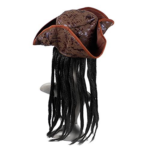 XuHangFF - Sombrero de capitn pirata para Halloween, disfraz de fiesta, trenzas, gorro de peluca para cosplay, accesorios de decoracin para adultos