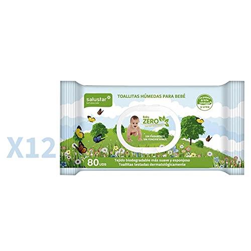 Pack 12 x Toallitas infantiles biodegradables BabyZero Salustar 80 uds