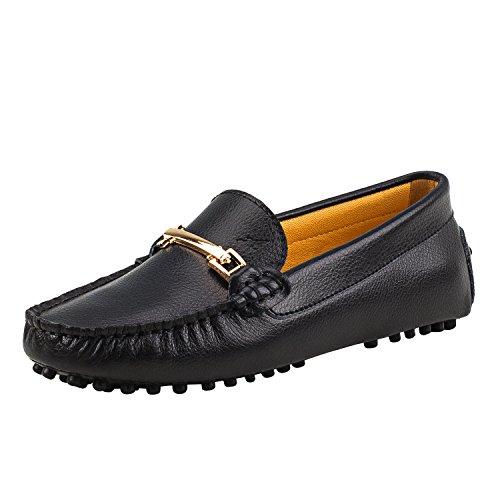 Shenduo Zapatos de cuero - Mocasines cómodos con cordones de moda para mujer D7067 Negro 41