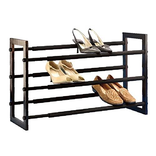 PANGDI Zapatero De 3 Capas, Organizador De Zapatos Simple Retráctil, Estante De Madera Maciza Debajo De La Cama En El Dormitorio del Pasillo (Color : Black Brown)