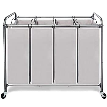 STORAGE MANIAC 4 Section Laundry Sorter 4 Bag Laundry Hamper Cart with Heavy Duty Rolling Lockable Wheels and Removable Bags Gray