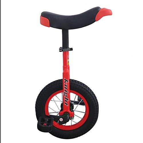 TTRY&ZHANG Pequeño Monociclo de 12'de Ruedas para niños para niños, niñas para Principiantes de Inicio Uni-Ciclo, para niños pequeños de 4 a 8 años, Marco de Metal y Asiento cómodo. (Color : Red)