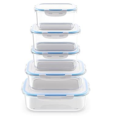 Royal Glass Food Storage Containers - 10-Piece Set - BPA Free and Microwave Safe with Lids - Perfect for Meal Prep