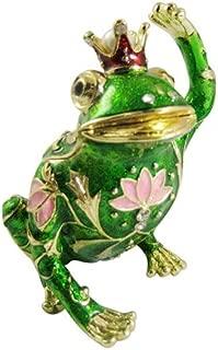 [NEW] Jewelry Trinket Box Figurine Case Vintage Collectible for Keepsake Art Decor Holder Organizer Pill Box - Magnet Secured Storage, Jeweled w/ Swarovski Crystals ( Frogs ) (King Frog Hello)