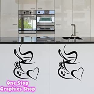 Customer reviews 1Stop Graphics - Shop Coffee Cup With Heart Wall Art Sticker X2 - Kitchen Lounge Tea Love Decal - Colour Red:Peliculas-gratis