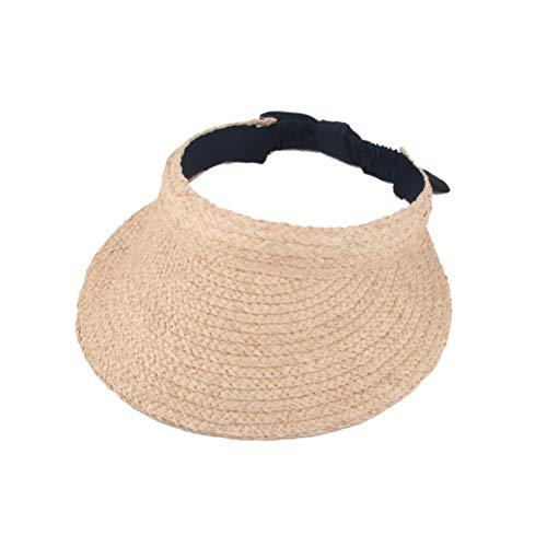 LUOEM Sombrero de niña bebé Paja de Verano Sombrero de protección Solar al Aire Libre Gorra de Verano Superior vacía Gorra de Playa Ajustable para niños (Beige)