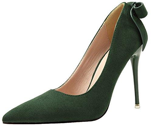 Mujer Tacones altos De BIGTREE Ante Stiletto Zapatos de tacón Dulce Bowknot Fiesta Zapatos Verde 38 EU