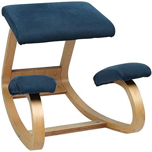 LAL6 Kniestuhl Ergonomischer Bürostuhl, Freizeit Fitness Stuhl Yoga Stuhl Korrektur Buckelschutz Wirbelsäule Schaukelhaltung Holzhocker Mit Weichen Samtkissen Blau