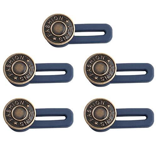 Jjqfwlkj Knöpfe 5pcs Buttons Adjustable Demontage Retractable Jeans Taillen-Knopf Metall Erweiterte Schnallen Hose (Color : Black)